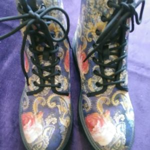 Shoes - Ladies floral pvc combat boots
